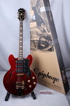 Epiphone Riviera P93 Custom Semi Hollow Body Electric Guitar w Bigsby Wine Red image