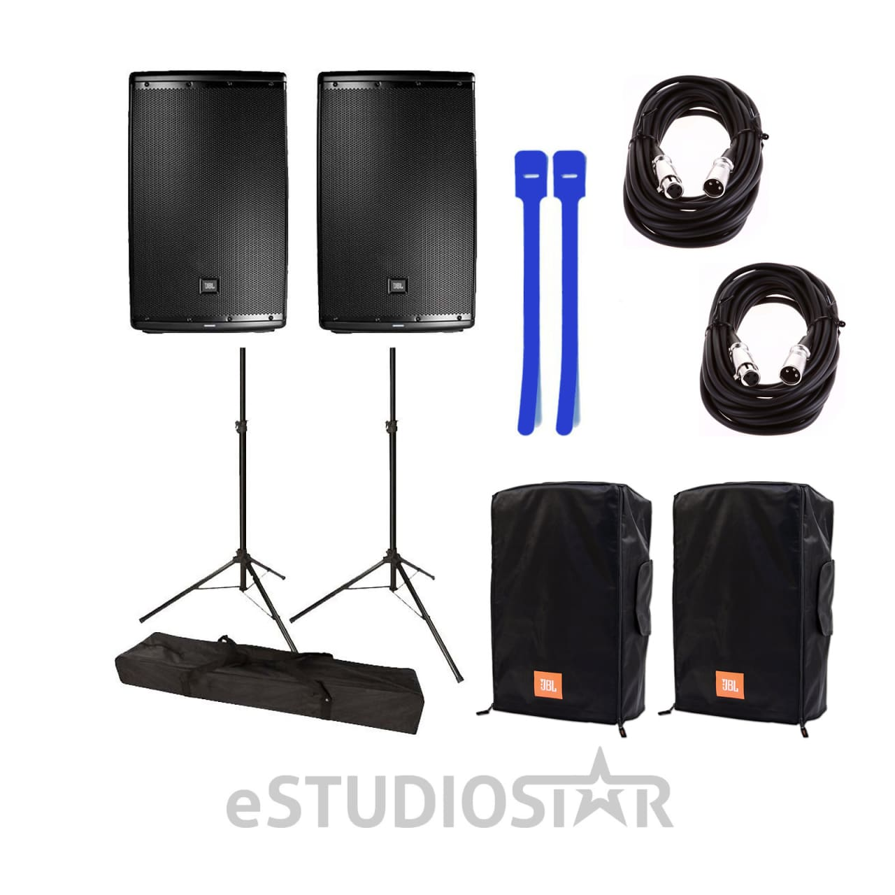 Jbl Eon615 15 2 Way Speaker W Tripod Stands Covers Xlr