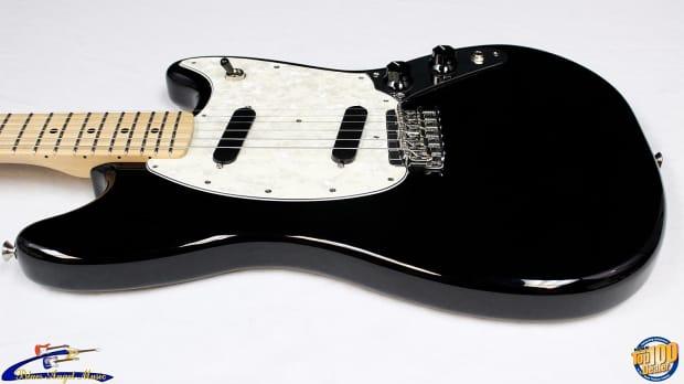 fender mustang offset short scale electric guitar black reverb. Black Bedroom Furniture Sets. Home Design Ideas
