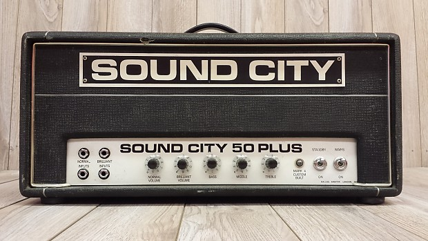 vintage sound city 50 plus guitar bass head amplifier amp reverb. Black Bedroom Furniture Sets. Home Design Ideas