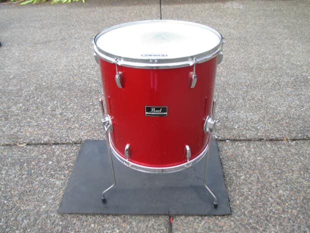 Pearl 16 x 16 floor tom candy apple red pro heads clean for 16 floor tom drum