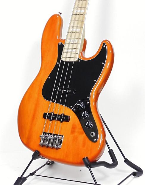 squier jazz bass vintage modified model 77 vintage amber reverb. Black Bedroom Furniture Sets. Home Design Ideas