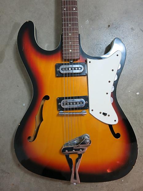 vintage 1960s teisco sunburst guitar wide body burns mosrite reverb. Black Bedroom Furniture Sets. Home Design Ideas