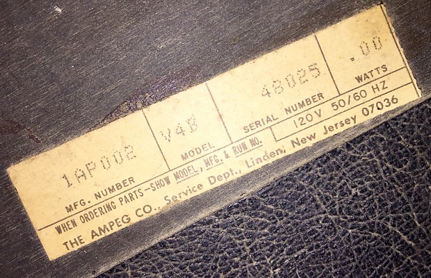 Ampeg serial number dating