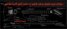 """Kramer Baretta  guitar blueprint/technical drawing. 22""""x46"""" white or gold ink on black vinyl image"""