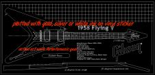 """Gibson 1958 Flying V blueprint/technical drawing. 22""""x46 sticker image"""
