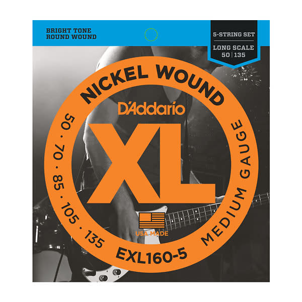 d 39 addario exl160 5 5 string nickel wound bass guitar strings medium gauge reverb. Black Bedroom Furniture Sets. Home Design Ideas