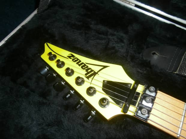 1992 ibanez rg450 electric guitar w original case yellow reverb. Black Bedroom Furniture Sets. Home Design Ideas