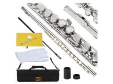Glory Closed Hole C Flute With Case, Tuning Rod and Cloth,Joint Grease and Gloves Nickel Siver--More image