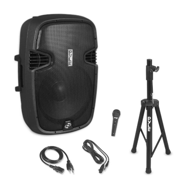 pyle 15 powered dj speakers wireless bluetooth pa reverb. Black Bedroom Furniture Sets. Home Design Ideas