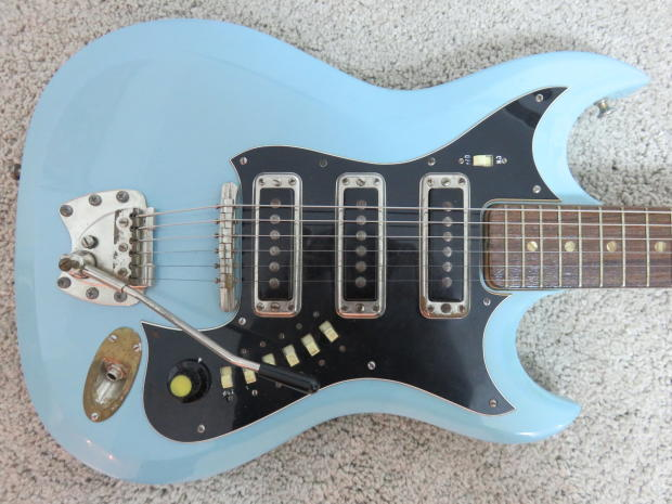 vintage 1960s hagstrom iii guitar powder blue rare color great shape with case reverb. Black Bedroom Furniture Sets. Home Design Ideas