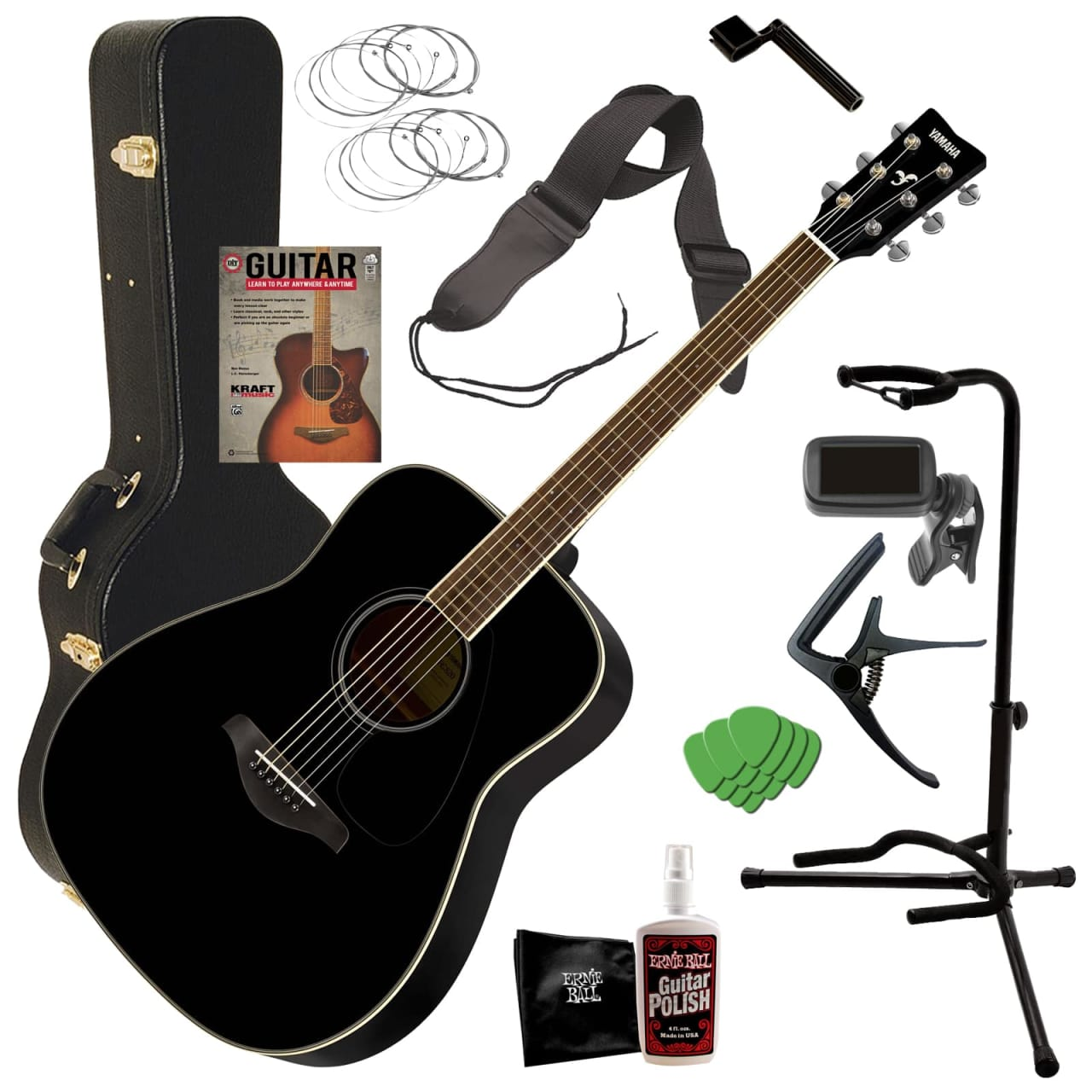 Yamaha fg820 acoustic guitar black complete guitar for Yamaha fg820 review