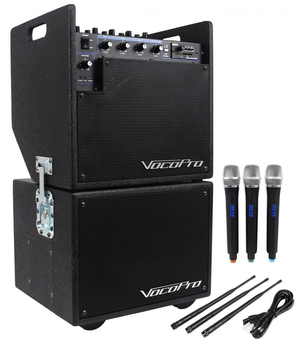 Battery Power Systems : Vocopro battery powered pa system w wireless mics sd