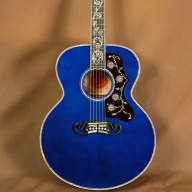 <p>2016 Gibson SJ-200 Custom Quilt Vine Viper Blue Acoustic Guitar J-200</p>  for sale