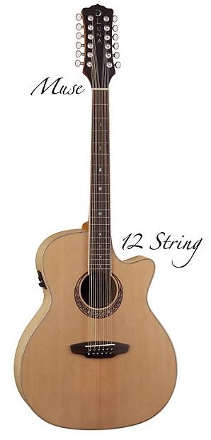 luna muse 12 string guitar acoustic electric new case reverb. Black Bedroom Furniture Sets. Home Design Ideas