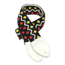Souldier Bed-In Peace Lennon 2 Inch - Yellow/Red Diamonds & Zigzag (White Belt w/White Ends) image