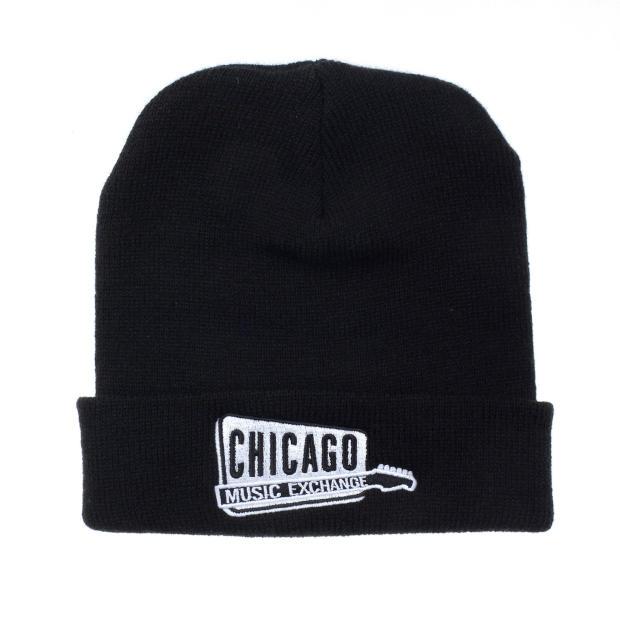 Chicago Music Exchange Winter Beanie Hat Black w/White Embroidered ...