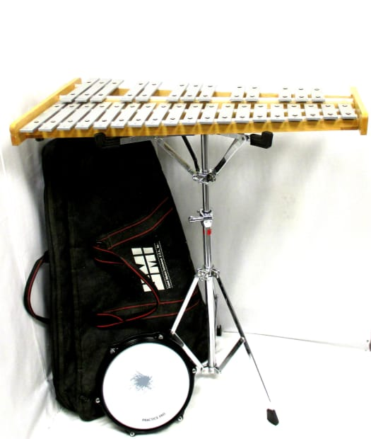 Umi bell kit w stand practice pad bag reverb for Yamaha student bell kit with backpack and rolling cart