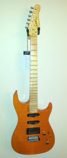 godin velocity amber flame 6 string electric guitar with high reverb. Black Bedroom Furniture Sets. Home Design Ideas