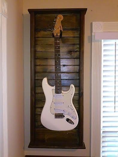 hand made guitar wall mount display case hanger dark reverb. Black Bedroom Furniture Sets. Home Design Ideas