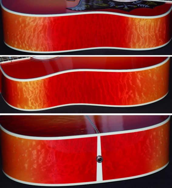 2014 Gibson Hummingbird Quilt Bright Cherry Sunburst