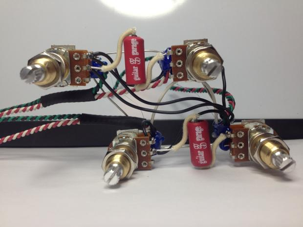 Gibson Les Paul Push  Pull Wiring Harness 21 Tone Jimmy Page Long Shaft