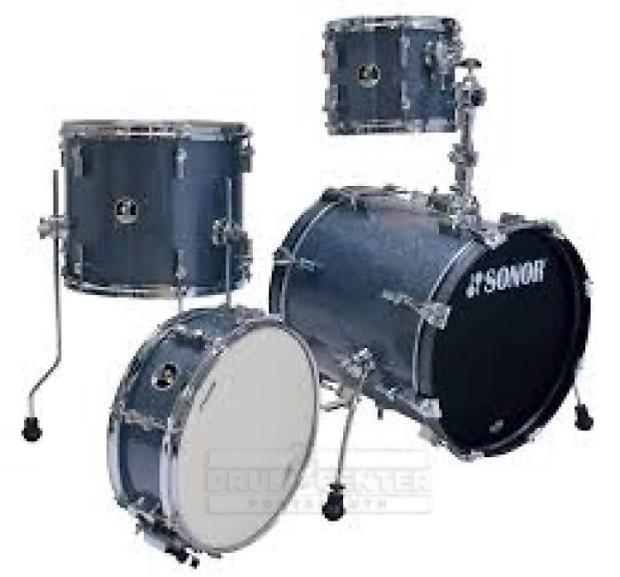 Sonor safari 4pc drum set black galaxy sparkle reverb for 14x12 floor tom