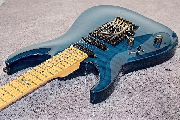 esp ltd left handed mh 103 qm 2015 trans blue lefty guitar reverb. Black Bedroom Furniture Sets. Home Design Ideas