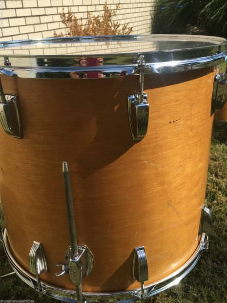 Vintage ludwig classic maple natural blue olive 70s usa for 16 floor tom drum