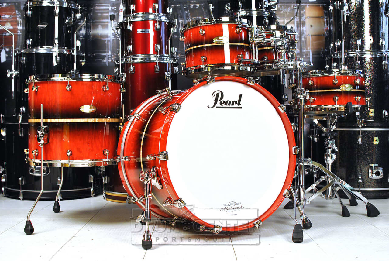 pearl masterworks 5pc drum set tamo ash reverse red burst reverb. Black Bedroom Furniture Sets. Home Design Ideas