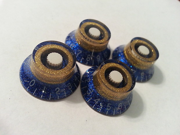 jat custom guitar parts top hat knobs blue flake gold flake reverb. Black Bedroom Furniture Sets. Home Design Ideas
