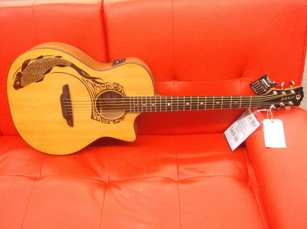 Luna guitars oracle koi 2 acoustic electric guitar w case for Koi fish guitar