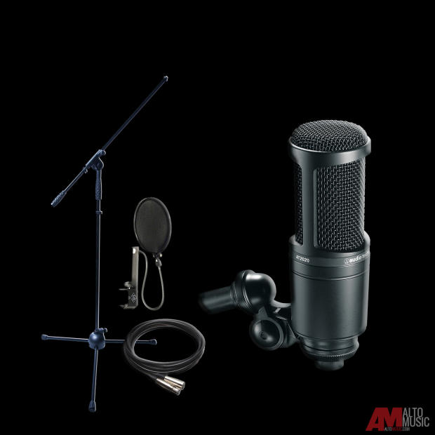 audio technica at2020 cardioid condenser mic w stand. Black Bedroom Furniture Sets. Home Design Ideas