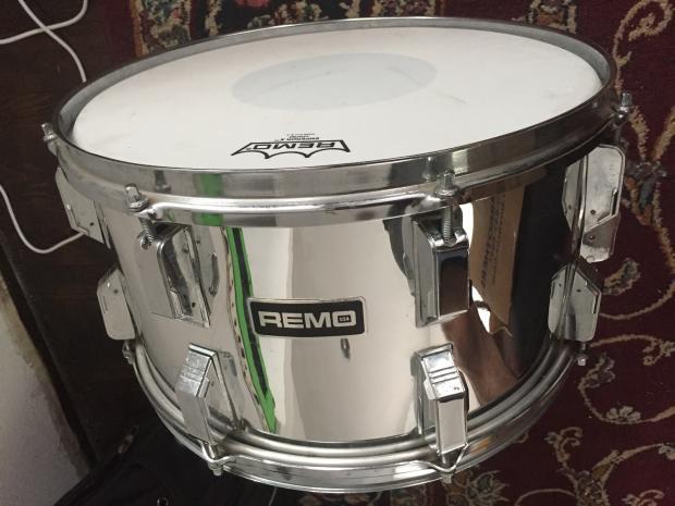 remo quadura 1980 39 s 8x14 snare drum w rare quick release lugs 14x8 chrome over acousticon reverb. Black Bedroom Furniture Sets. Home Design Ideas