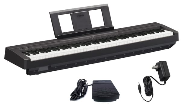 yamaha p45b digital piano w music rest sustain pedal power reverb. Black Bedroom Furniture Sets. Home Design Ideas