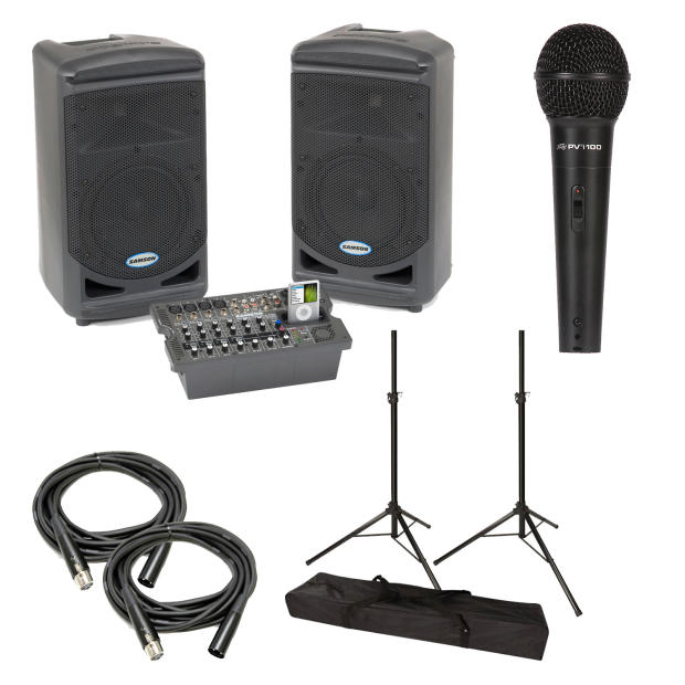 samson expedition xp308i portable pa system with pvi 100 dynamic mic speaker stands xlr. Black Bedroom Furniture Sets. Home Design Ideas