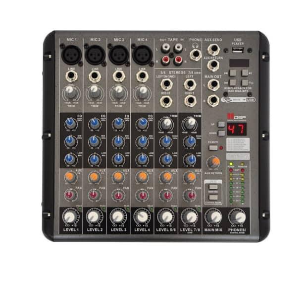 freeboss rmv8 4 mono 2 stereo 8 channel 99 dsp audio mixer reverb. Black Bedroom Furniture Sets. Home Design Ideas