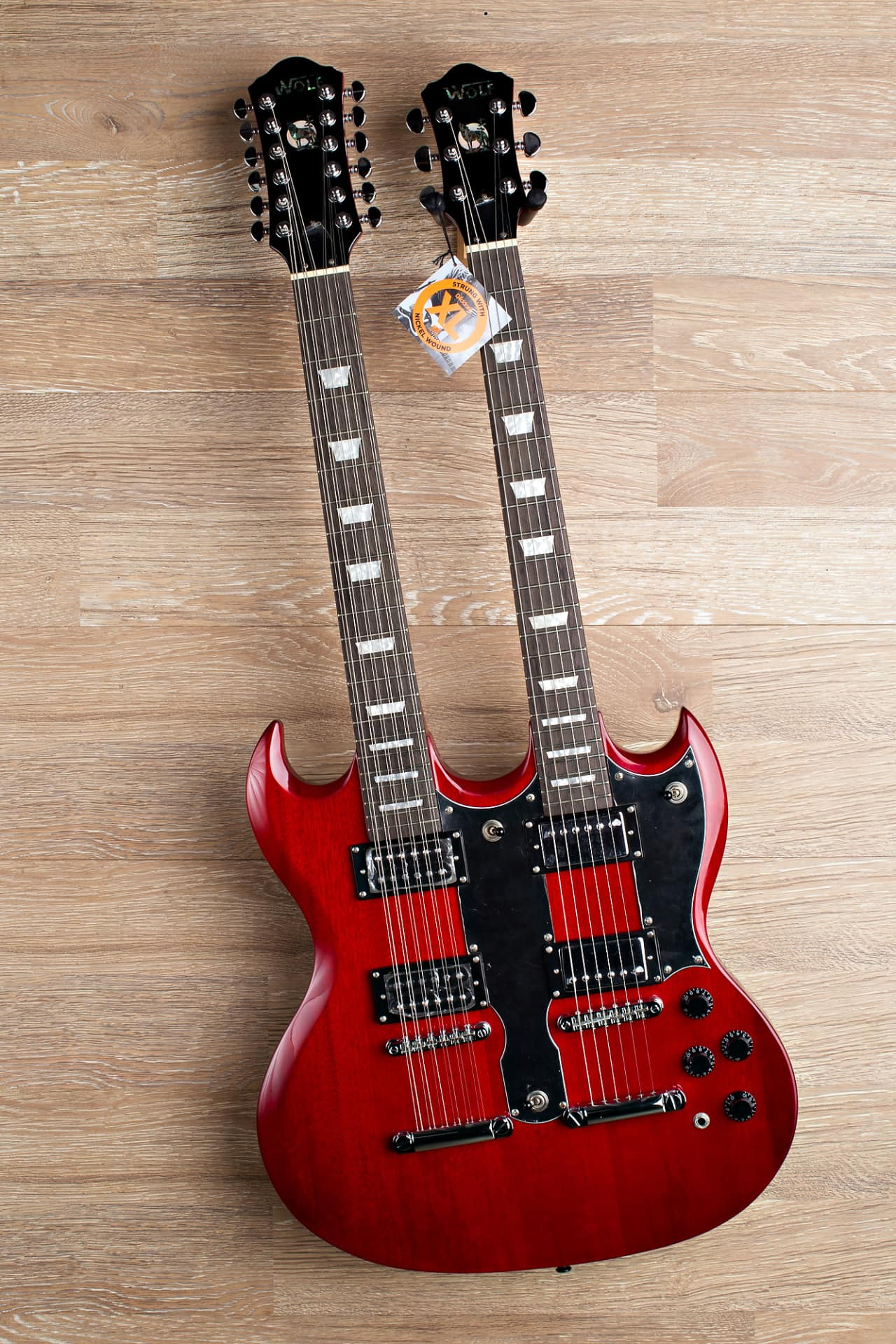 wolf double neck wsg electric guitar trans red 2017 2 8 reverb. Black Bedroom Furniture Sets. Home Design Ideas