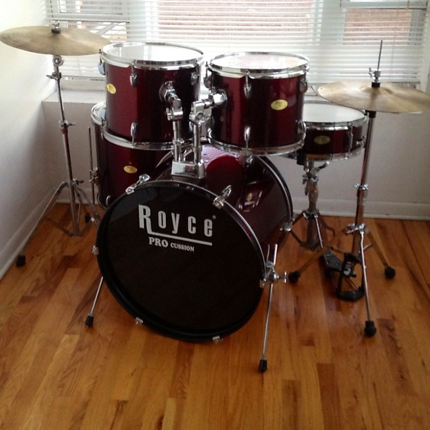 Royce 5pc Drum Set W Cymbals Amp Hardware Red Reverb