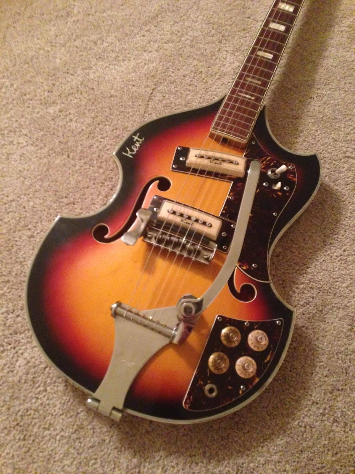 1960 S Kent 834 Sunburst Semihollow Electric Guitar Reverb