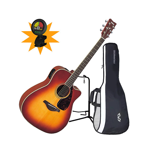 Yamaha Fgx700sc Bs Folk Acoustic Electric Guitar Bundle