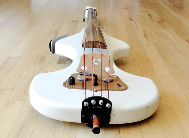 1995 azola minibass upright electric bass white w   peizo