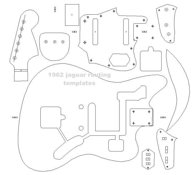 guitar cut out template - fender 39 62 jaguar blueprint routing template guitar body