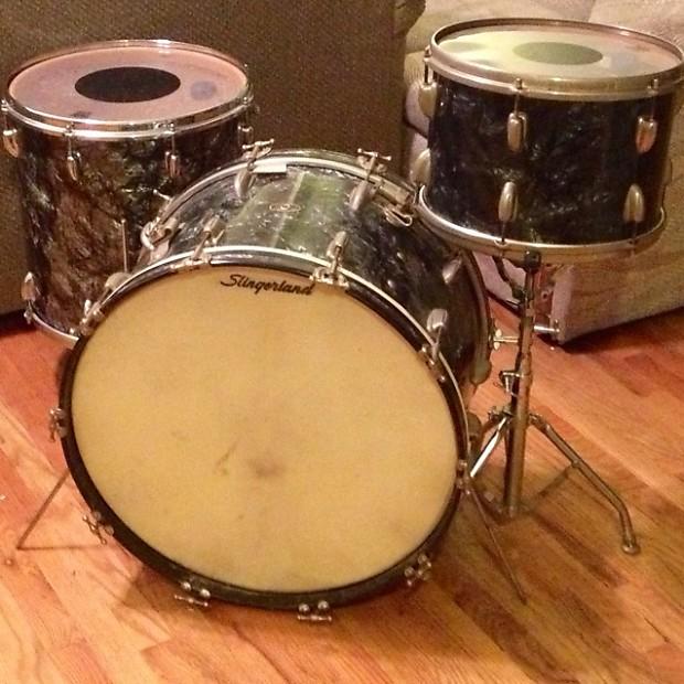 Slingerland 13 16 22 Vintage Drum Set 50s 60s Black