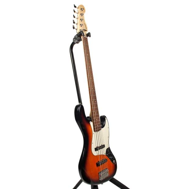 squier 5 string j bass electric bass guitar 2000 39 s sunburst reverb. Black Bedroom Furniture Sets. Home Design Ideas