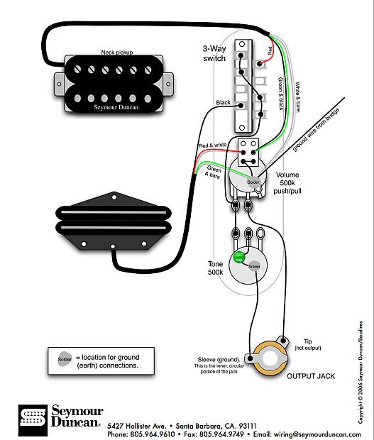 Fender Tele HH 3 Way Control Plate 500K Pots w Splits