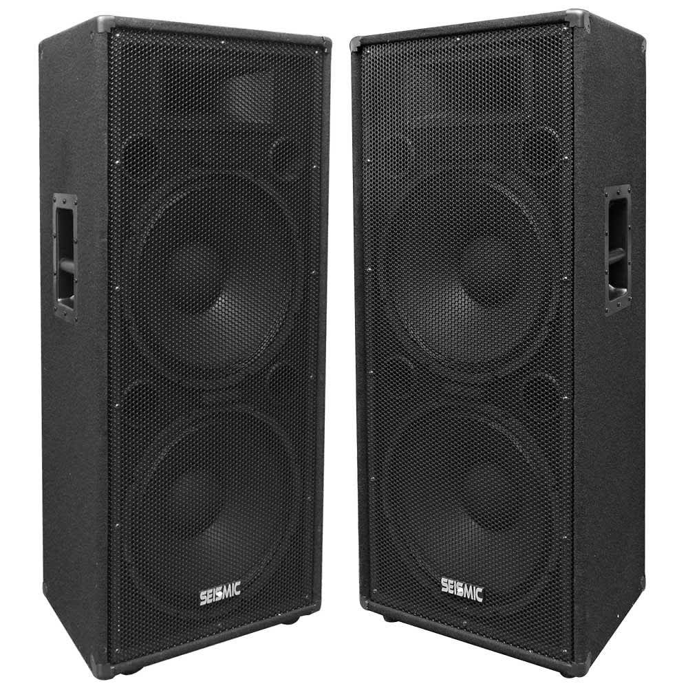 Pair Of Dual 15 Quot Pa Dj Speaker Cabinets With Titanium