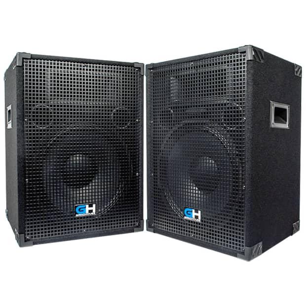 2000w pair of 15 inch passive full range pa speakers home dj reverb. Black Bedroom Furniture Sets. Home Design Ideas
