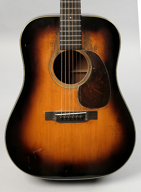vintage 1938 CF Martin D-18 shade top sunburst
