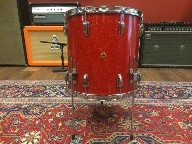 1940s 1950s Wfl Ludwig 22 16 13 6 5 Red Glass Glitter